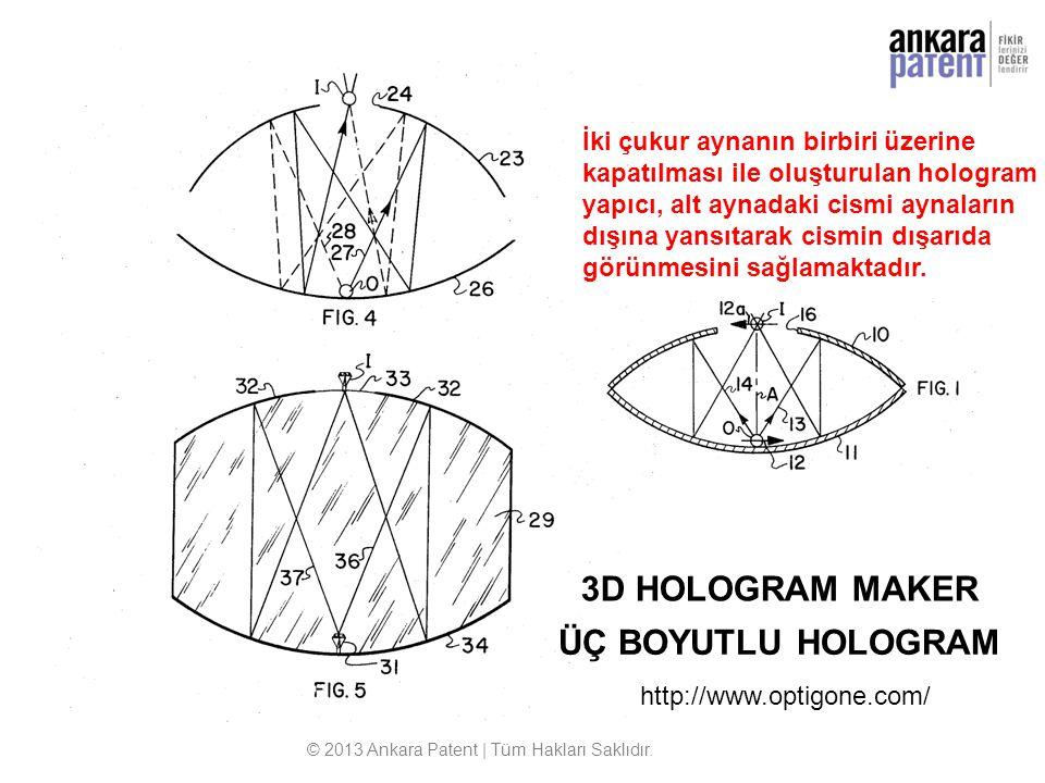 © 2013 Ankara Patent | Tüm Hakları Saklıdır. 3D HOLOGRAM MAKER ÜÇ BOYUTLU HOLOGRAM http://www.optigone.com/ İki çukur aynanın birbiri üzerine kapatılm