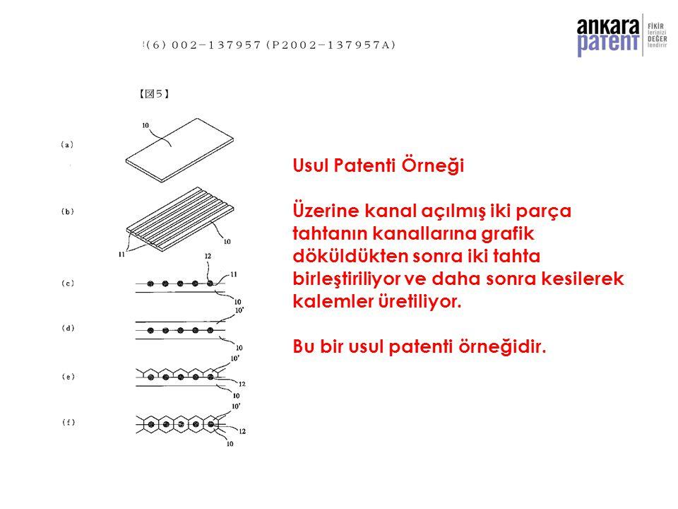 Usul Patenti Örneği Üzerine kanal açılmış iki parça tahtanın kanallarına grafik döküldükten sonra iki tahta birleştiriliyor ve daha sonra kesilerek ka