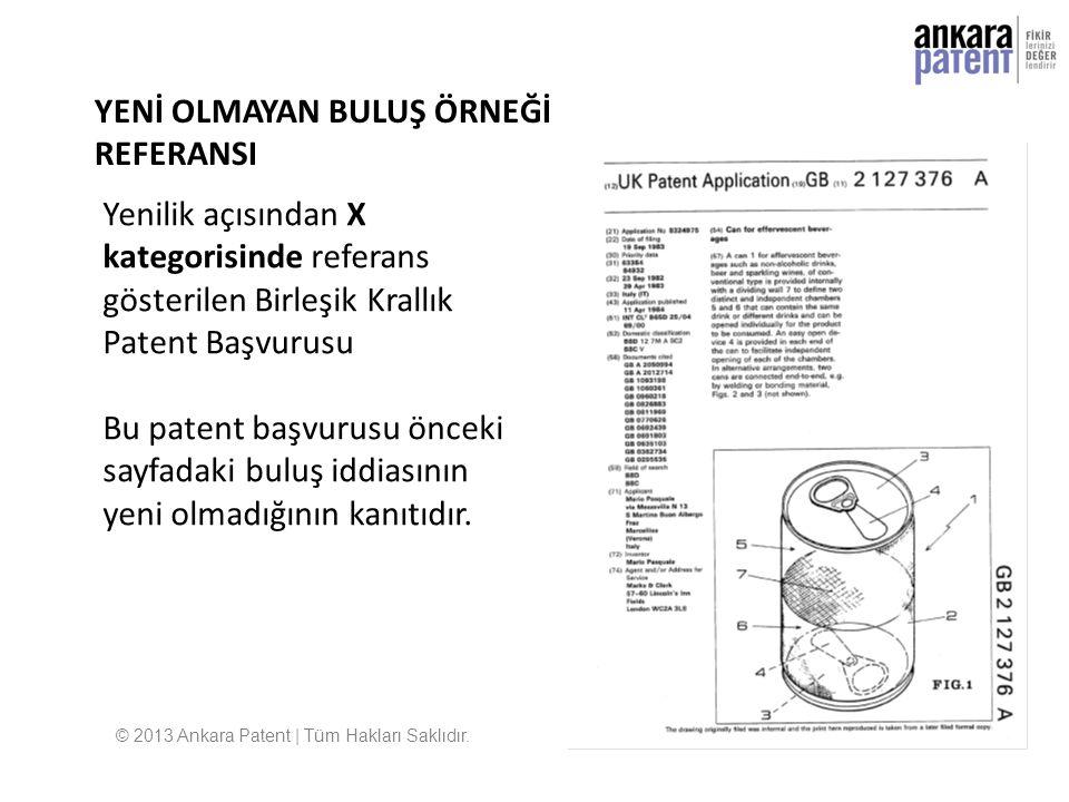 Yenilik açısından X kategorisinde referans gösterilen Birleşik Krallık Patent Başvurusu Bu patent başvurusu önceki sayfadaki buluş iddiasının yeni olm
