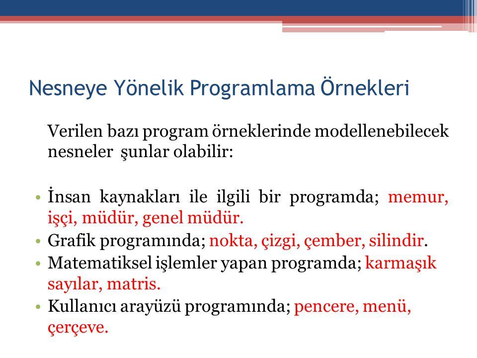 Nesneye Yönelik Programlama Örnekleri Verilen bazı program örneklerinde modellenebilecek nesneler şunlar olabilir: •İnsan kaynakları ile ilgili bir programda; memur, işçi, müdür, genel müdür.