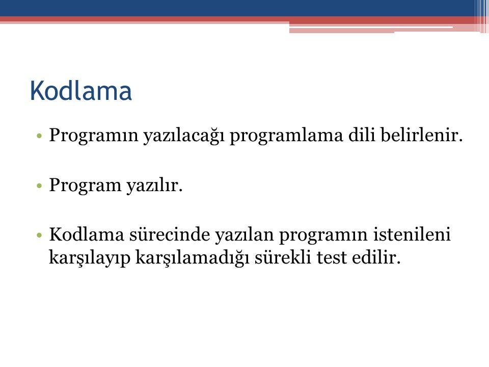 Kodlama •Programın yazılacağı programlama dili belirlenir.
