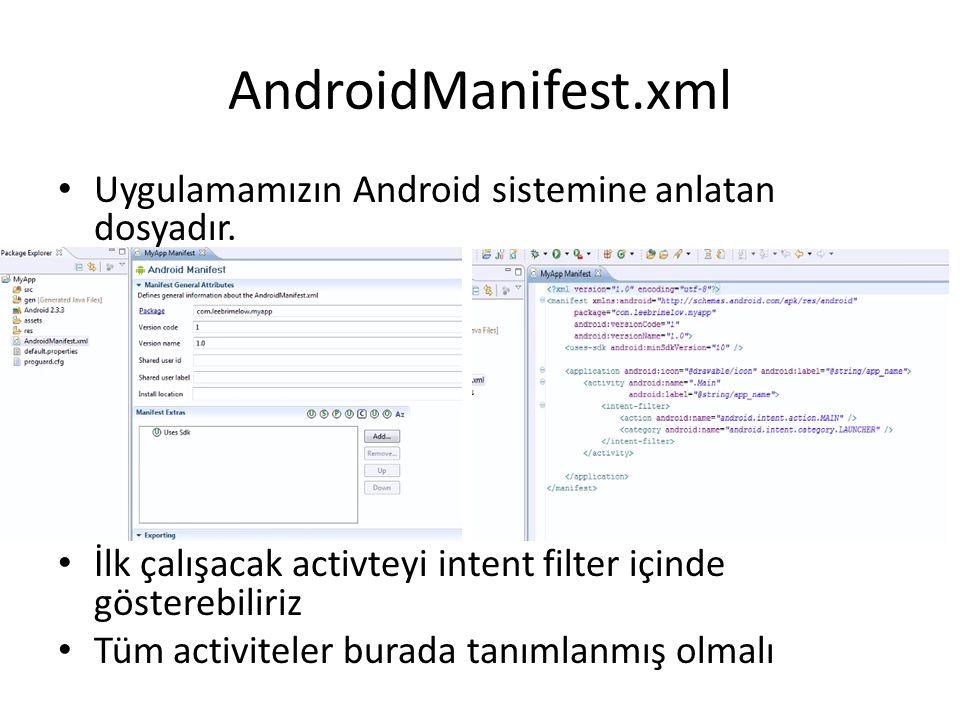 AndroidManifest.xml • Uygulamamızın Android sistemine anlatan dosyadır. • İlk çalışacak activteyi intent filter içinde gösterebiliriz • Tüm activitele