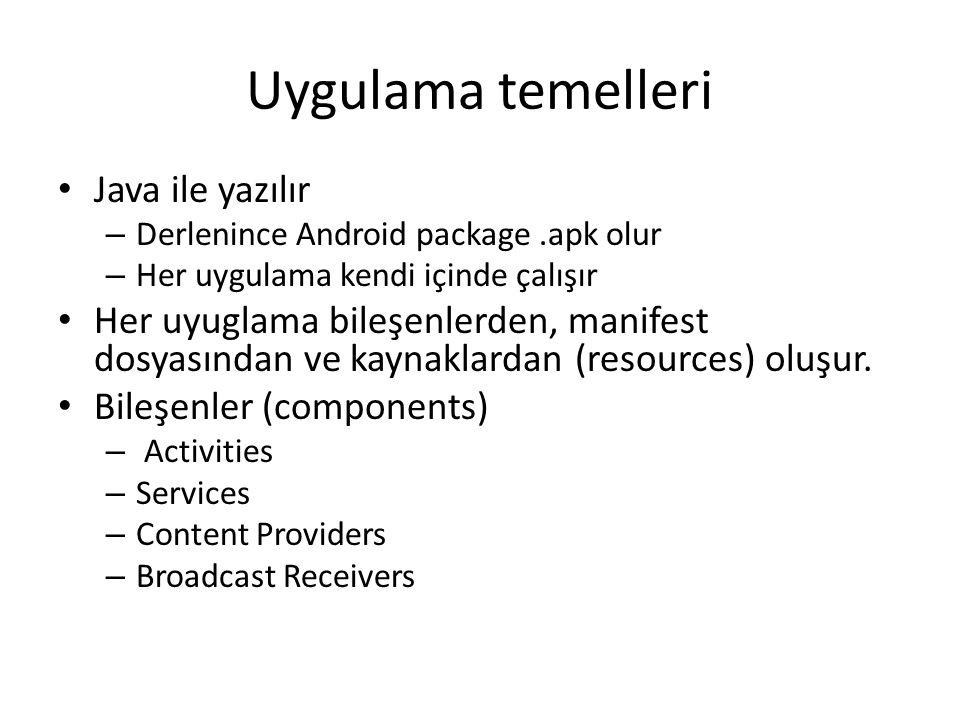 Uygulama temelleri • Java ile yazılır – Derlenince Android package.apk olur – Her uygulama kendi içinde çalışır • Her uyuglama bileşenlerden, manifest