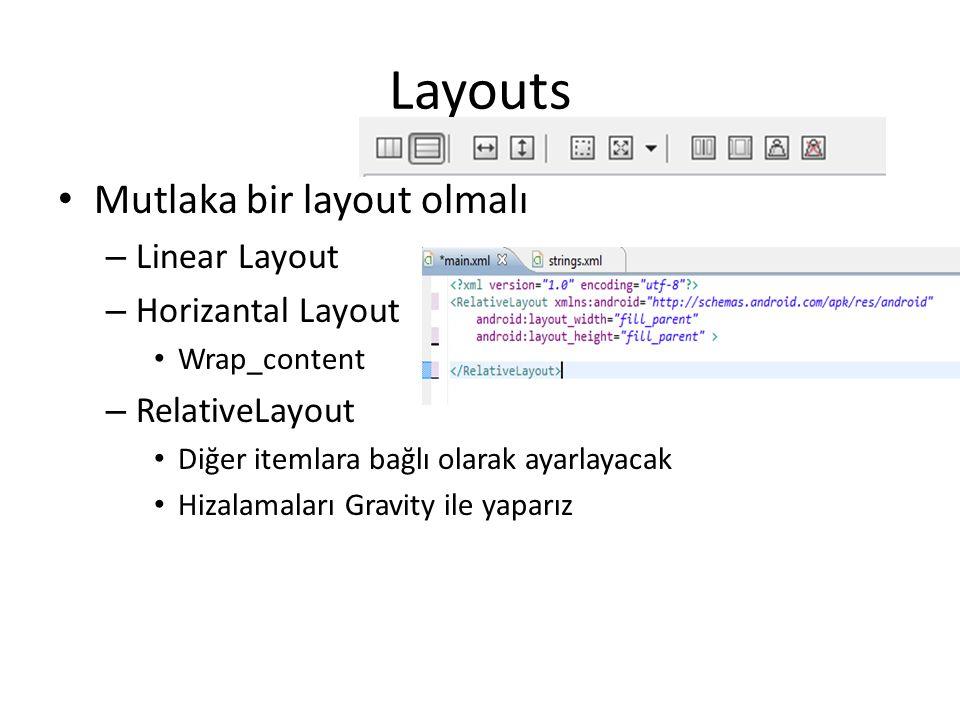 Layouts • Mutlaka bir layout olmalı – Linear Layout – Horizantal Layout • Wrap_content – RelativeLayout • Diğer itemlara bağlı olarak ayarlayacak • Hi