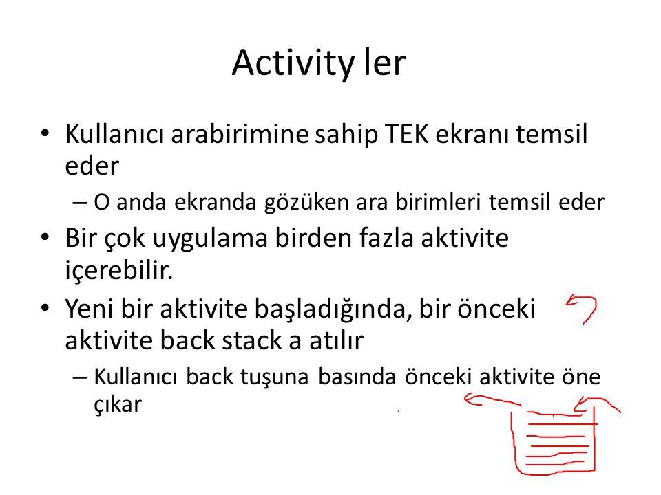 Activity ler • Kullanıcı arabirimine sahip TEK ekranı temsil eder – O anda ekranda gözüken ara birimleri temsil eder • Bir çok uygulama birden fazla a