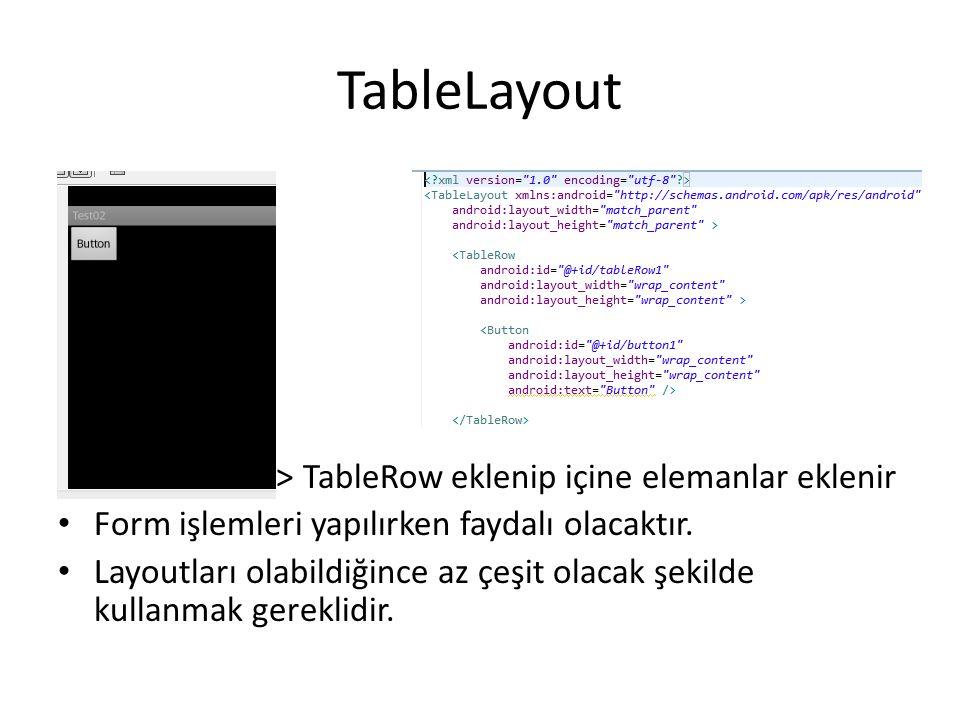 TableLayout • TableLayout > TableRow eklenip içine elemanlar eklenir • Form işlemleri yapılırken faydalı olacaktır. • Layoutları olabildiğince az çeşi