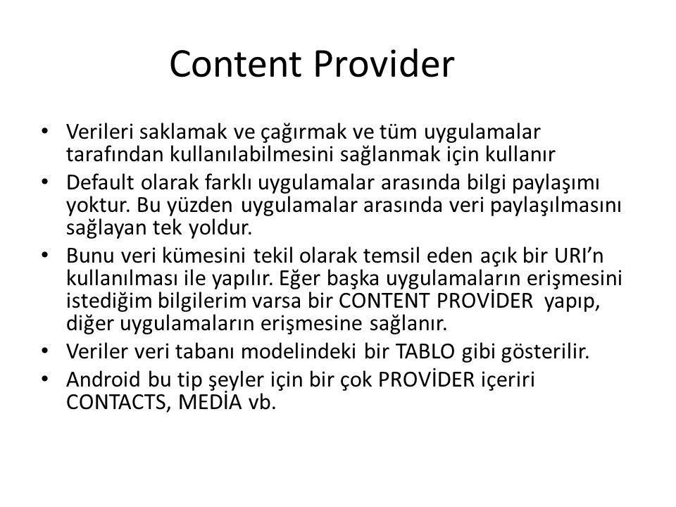 Content Provider • Verileri saklamak ve çağırmak ve tüm uygulamalar tarafından kullanılabilmesini sağlanmak için kullanır • Default olarak farklı uygu