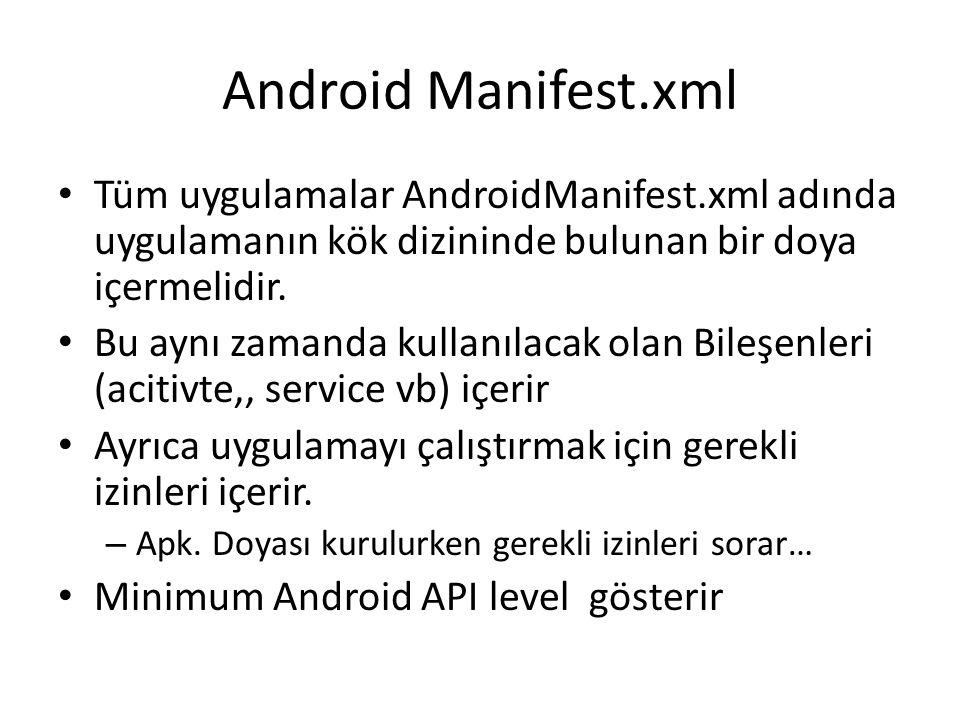 Android Manifest.xml • Tüm uygulamalar AndroidManifest.xml adında uygulamanın kök dizininde bulunan bir doya içermelidir. • Bu aynı zamanda kullanılac