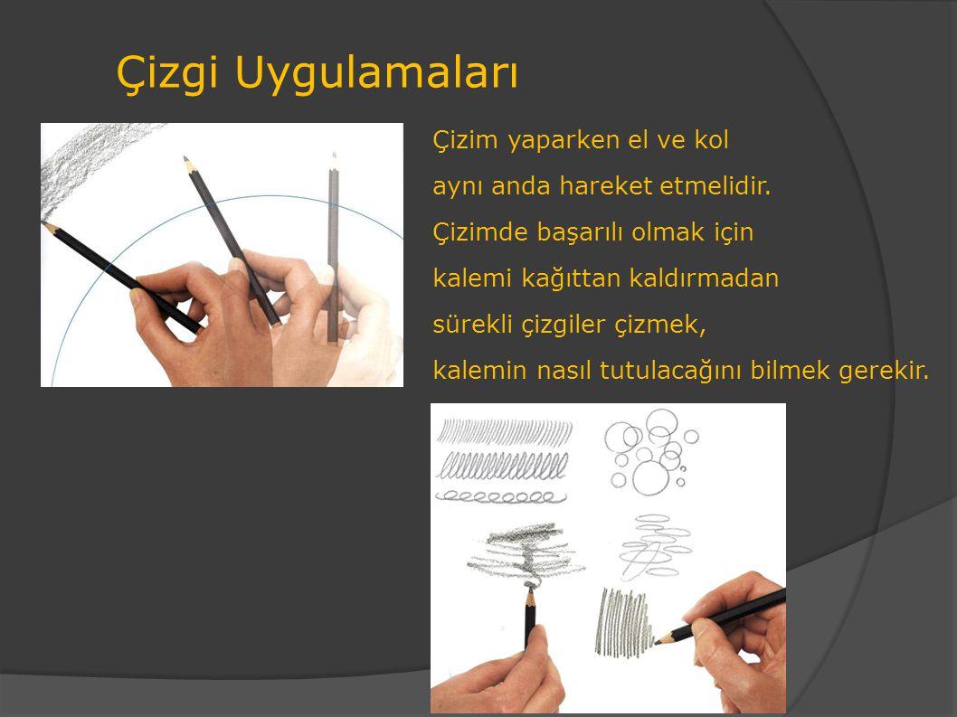 Çizgi Uygulamaları Çizim yaparken el ve kol aynı anda hareket etmelidir. Çizimde başarılı olmak için kalemi kağıttan kaldırmadan sürekli çizgiler çizm