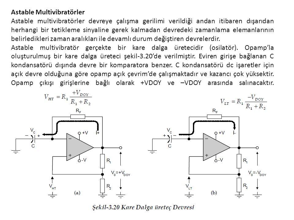 Astable Multivibratörler Astable multivibratörler devreye çalışma gerilimi verildiği andan itibaren dışarıdan herhangi bir tetikleme sinyaline gerek kalmadan devredeki zamanlama elemanlarının belirledikleri zaman aralıkları ile devamlı durum değiştiren devrelerdir.