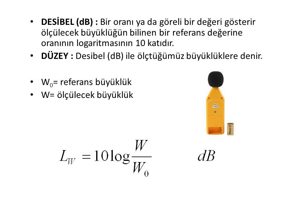 • DESİBEL (dB) : Bir oranı ya da göreli bir değeri gösterir ölçülecek büyüklüğün bilinen bir referans değerine oranının logaritmasının 10 katıdır. • D