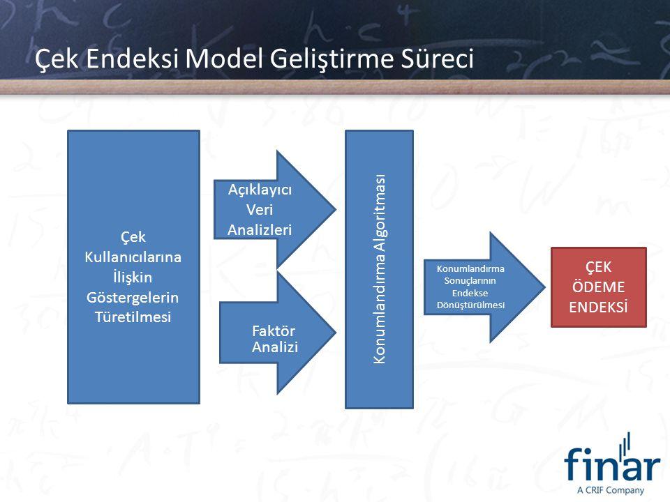 Çek Endeksi Model Geliştirme Süreci Çek Kullanıcılarına İlişkin Göstergelerin Türetilmesi Açıklayıcı Veri Analizleri Faktör Analizi Konumlandırma Algo