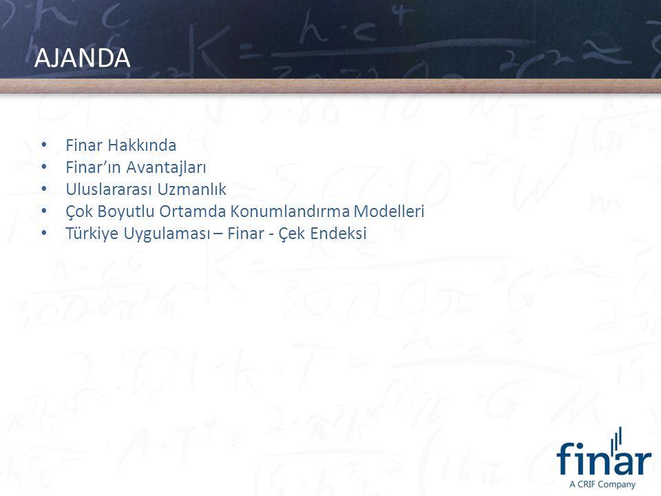 Finar Hakkında • Ticari ve finansal bilgi gereksinimini karşılamak üzere 1989 yılında İstanbul'da kuruldu • D&B Turkey'in kardeş kuruluşu ve Kompass Türkiye'nin sahibi • Türkiye'de yerleşik kuruluşların kredi değerliliği raporlarını üretiyor • 70,000+ Türk şirketine rating verdi • Veritabanında 1.2 milyon Türk şirketi var • 1997'den beri banka, finansal kurumlar ve reel sektör kredi değerlendirme süreçlerine yönelik modellerin kurulması konusunda danışmanlık hizmeti veriyor, yazılım çözümleri sunuyor • Finar Türkiye'nin ilk; Ticari krediler için istatistiki skorkartını ve Küçük ve mikro işletme kredileri için skorkart bazlı otomatik karar modelini geliştirdi • 1997 – Mart 2013 arasında Skorkart Bazlı Kredi Karar ve Yönetim Sistemleri Kurumsal Segment: 11 Ticari Segment: 14 Küçük/Micro Segment: 23 Bireysel: 5 Validasyon/Kalibrasyon: 10 Basel Uyum Çalışmaları: 7 toplam 70 proje gerçekleştirdi.