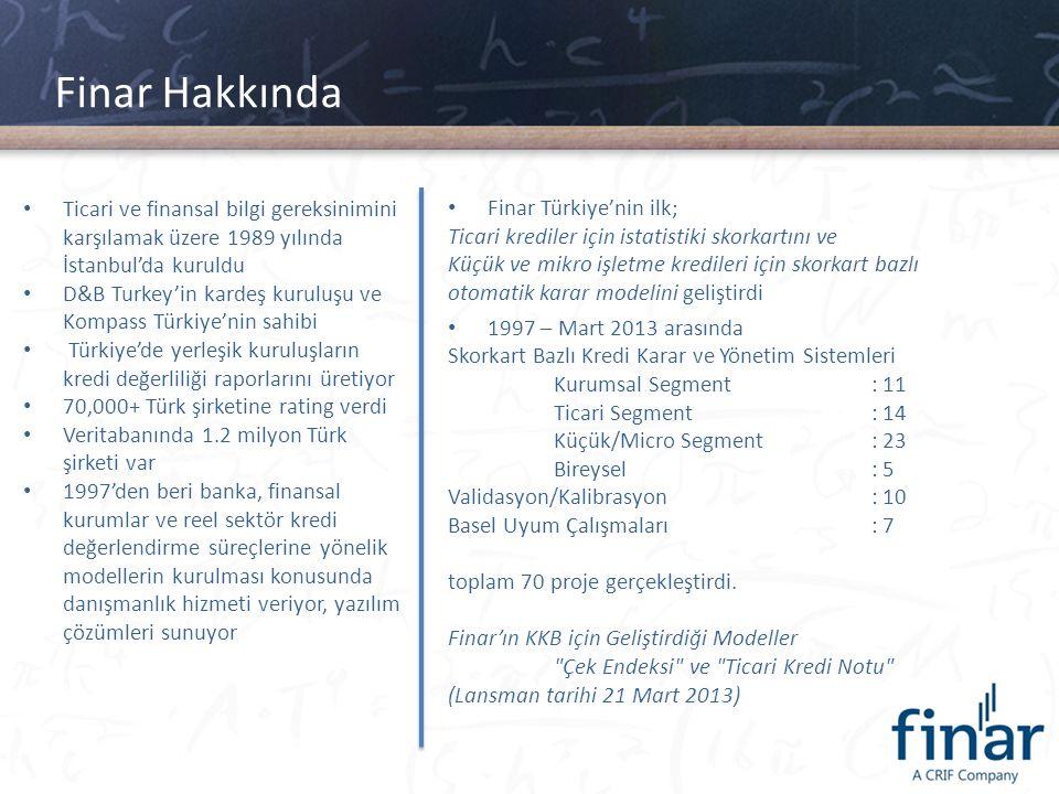 Finar Hakkında • Ticari ve finansal bilgi gereksinimini karşılamak üzere 1989 yılında İstanbul'da kuruldu • D&B Turkey'in kardeş kuruluşu ve Kompass T