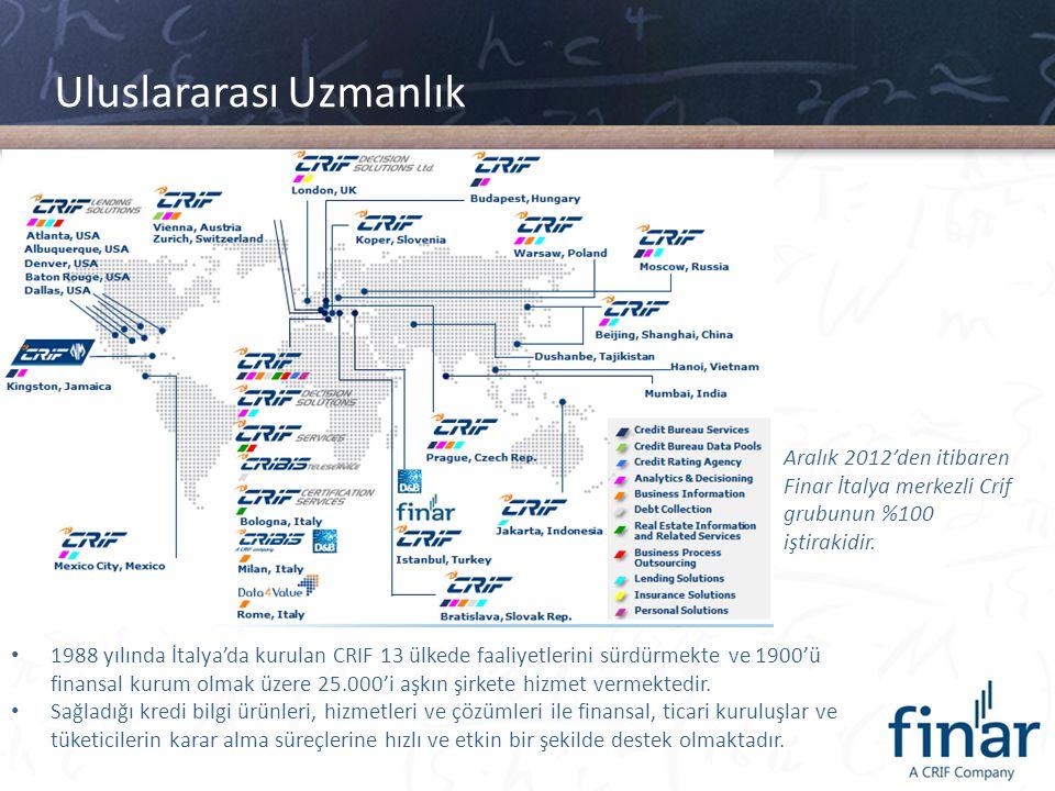 Uluslararası Uzmanlık Aralık 2012'den itibaren Finar İtalya merkezli Crif grubunun %100 iştirakidir. • 1988 yılında İtalya'da kurulan CRIF 13 ülkede f