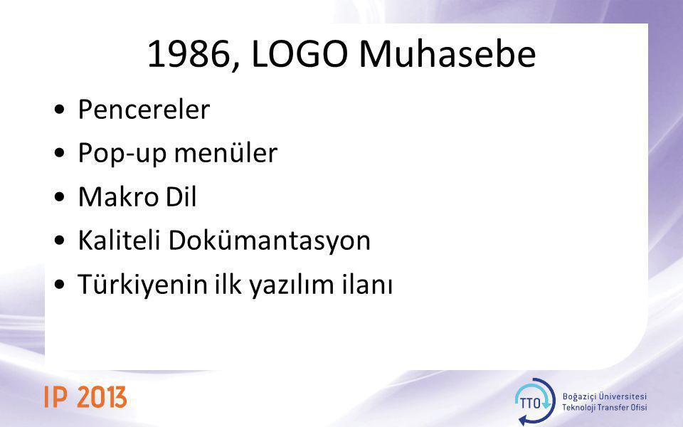1986, LOGO Muhasebe •Pencereler •Pop-up menüler •Makro Dil •Kaliteli Dokümantasyon •Türkiyenin ilk yazılım ilanı