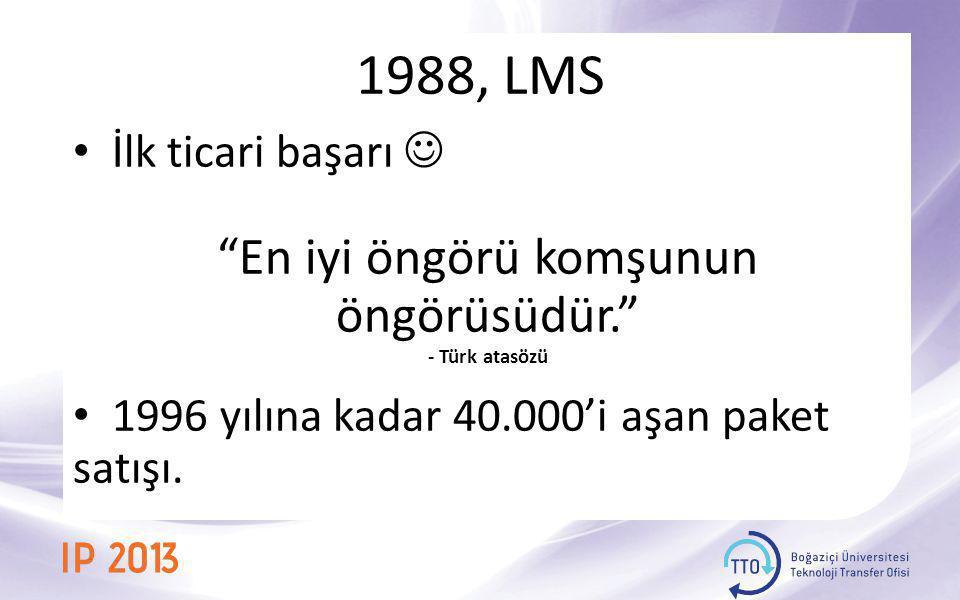 """1988, LMS • İlk ticari başarı  """"En iyi öngörü komşunun öngörüsüdür."""" - Türk atasözü • 1996 yılına kadar 40.000'i aşan paket satışı."""