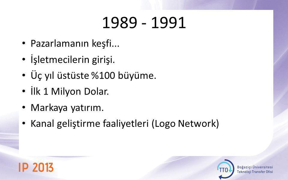 1989 - 1991 • Pazarlamanın keşfi... • İşletmecilerin girişi. • Üç yıl üstüste %100 büyüme. • İlk 1 Milyon Dolar. • Markaya yatırım. • Kanal geliştirme