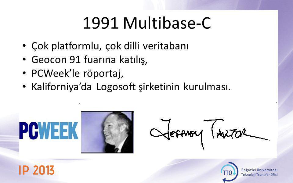 1991 Multibase-C • Çok platformlu, çok dilli veritabanı • Geocon 91 fuarına katılış, • PCWeek'le röportaj, • Kaliforniya'da Logosoft şirketinin kurulm