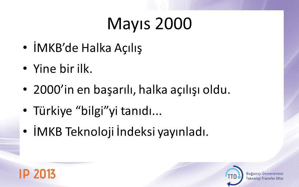 """Mayıs 2000 • İMKB'de Halka Açılış • Yine bir ilk. • 2000'in en başarılı, halka açılışı oldu. • Türkiye """"bilgi""""yi tanıdı... • İMKB Teknoloji İndeksi ya"""