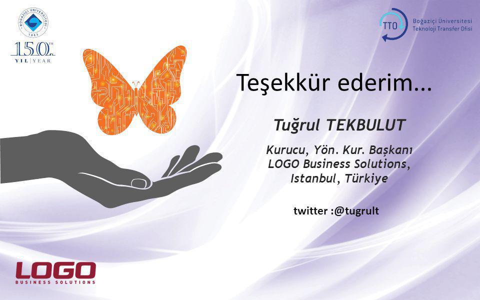 Teşekkür ederim... twitter :@tugrult Tuğrul TEKBULUT Kurucu, Yön. Kur. Başkanı LOGO Business Solutions, Istanbul, Türkiye