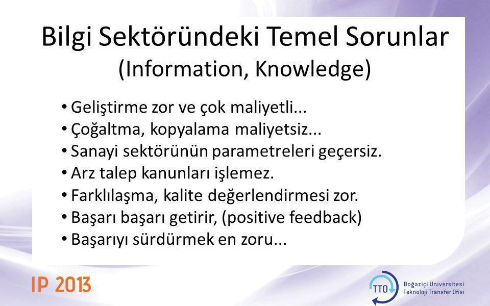 Bilgi Sektöründeki Temel Sorunlar (Information, Knowledge) • Geliştirme zor ve çok maliyetli... • Çoğaltma, kopyalama maliyetsiz... • Sanayi sektörünü