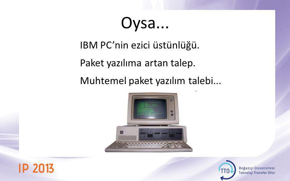 Oysa... IBM PC'nin ezici üstünlüğü. Paket yazılıma artan talep. Muhtemel paket yazılım talebi...