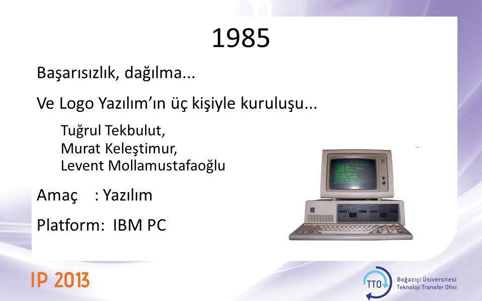 1985, İlk Yazılım Ürünü Proplan Çağının en iyi paketi Toplam satış : 10 