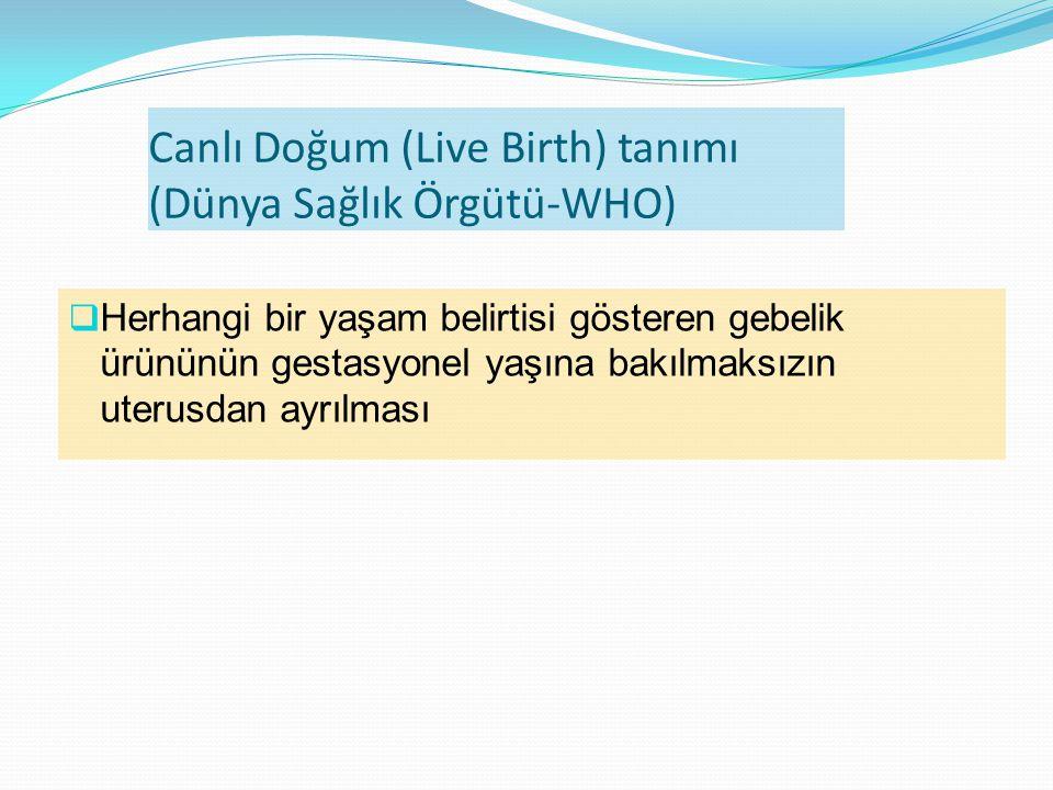  Herhangi bir yaşam belirtisi gösteren gebelik ürününün gestasyonel yaşına bakılmaksızın uterusdan ayrılması Canlı Doğum (Live Birth) tanımı (Dünya Sağlık Örgütü-WHO)