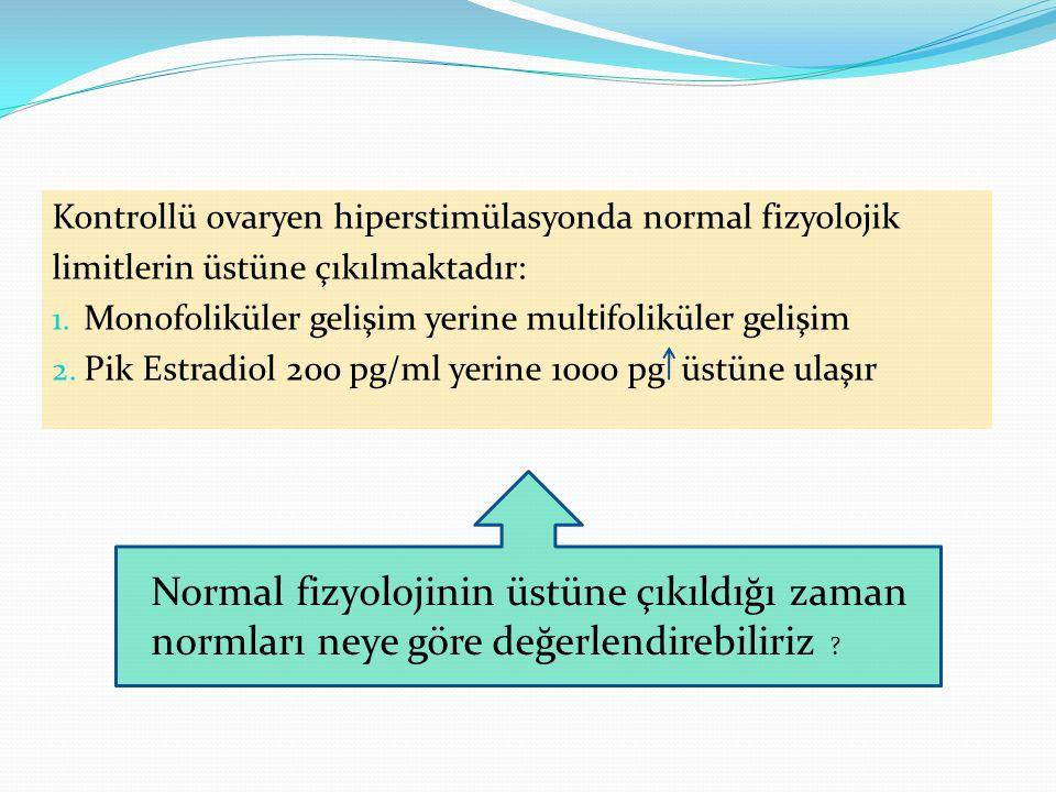 Kontrollü ovaryen hiperstimülasyonda normal fizyolojik limitlerin üstüne çıkılmaktadır: 1.