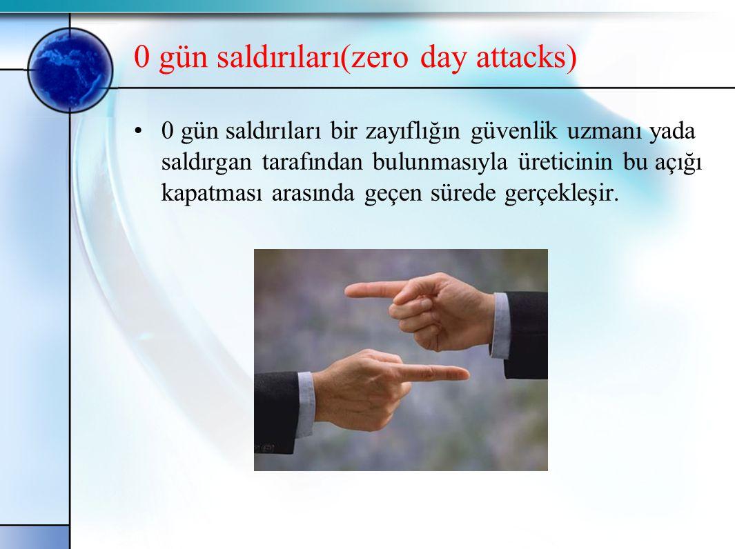 0 gün saldırıları(zero day attacks) •0 gün saldırıları bir zayıflığın güvenlik uzmanı yada saldırgan tarafından bulunmasıyla üreticinin bu açığı kapat