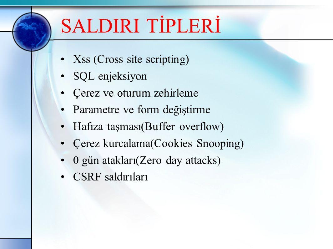 XSS (Cross Site Scirpting) •XSS web yazılımlarında veri girişi yapılan alanlara zararlı kod gönderilmesi ile ortaya çıkan bir zayıflıktır.Bu saldırı sayesinde saldırgan web sayfasının başka bir siteye yönlendirilmesini oturum ve çerez bilgilerinin çalınması sağlar.