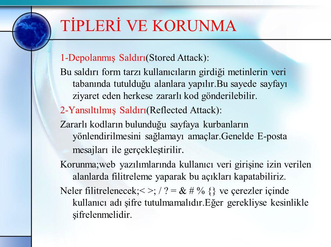 TİPLERİ VE KORUNMA 1-Depolanmış Saldırı(Stored Attack): Bu saldırı form tarzı kullanıcıların girdiği metinlerin veri tabanında tutulduğu alanlara yapı
