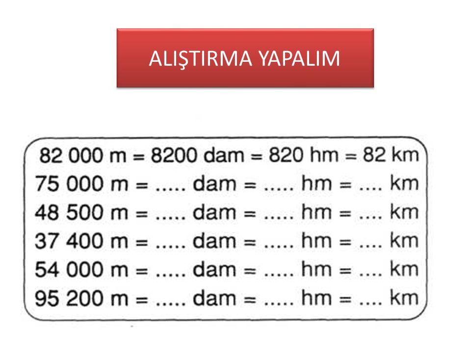 Küçük birimi büyük birime çevirelim • Küçük birimi büyük birime çevirirken her kat için 10'a BÖLMELİSİN ÖRNEK: 6000 m=…….km (kilometre metrenin 3 üst
