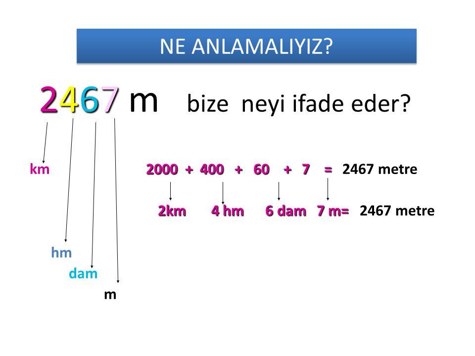 Bir üst katına çevirme yapalım • 80 hm =…….km20 dam =…..hm • 30hm =……..km60 dam =…..hm • 90 hm =…….km80 dam =…..hm • 40 hm =…….km70 dam =…..hm • 20 hm