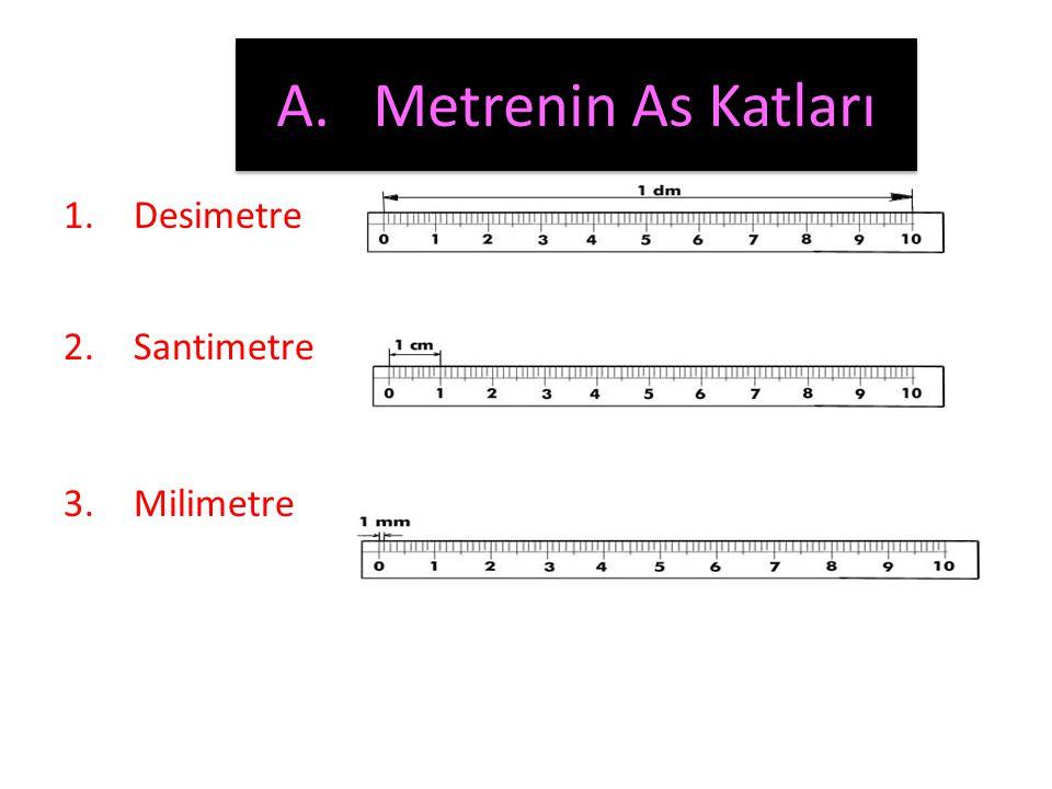 Metre • Uzunluk ölçüsü temel birimi metredir. Kısaca m ile gösterilir.