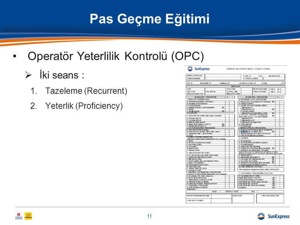 Pas Geçme Eğitimi •Operatör Yeterlilik Kontrolü (OPC)  İki seans : 1.Tazeleme (Recurrent) 2.Yeterlik (Proficiency) 11