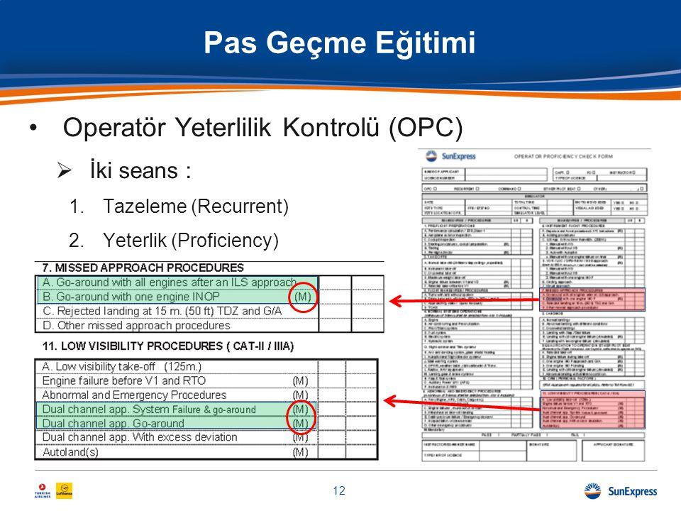 Pas Geçme Eğitimi •Operatör Yeterlilik Kontrolü (OPC)  İki seans : 1.Tazeleme (Recurrent) 2.Yeterlik (Proficiency) 12
