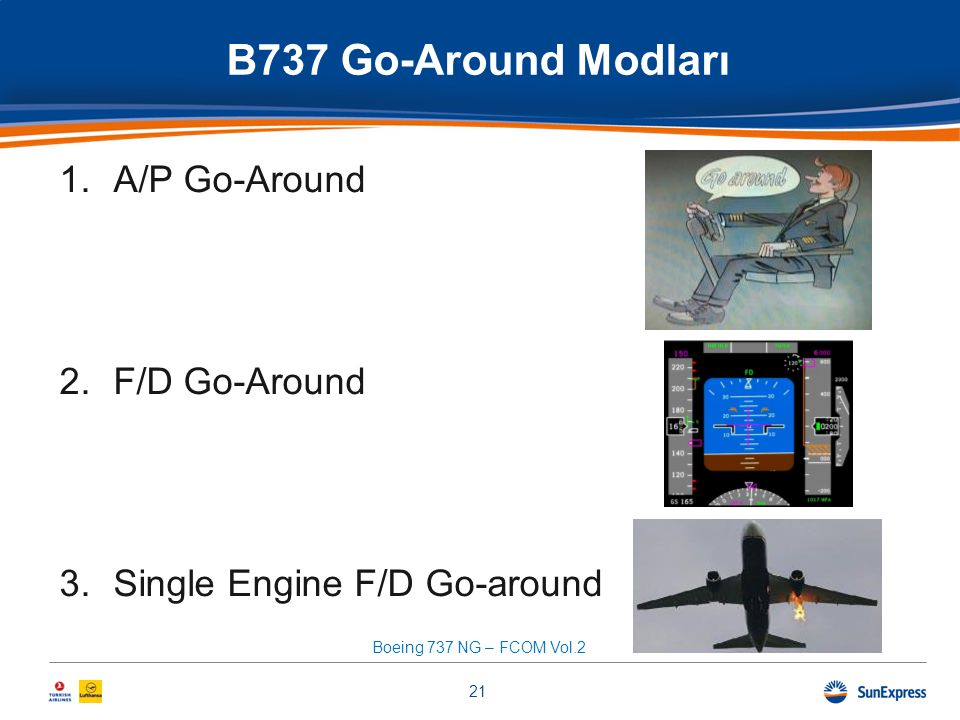 B737 Go-Around Modları 1.A/P Go-Around 2.F/D Go-Around 3.Single Engine F/D Go-around 21 Boeing 737 NG – FCOM Vol.2