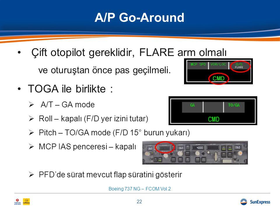 •Çift otopilot gereklidir, FLARE arm olmalı ve oturuştan önce pas geçilmeli. •TOGA ile birlikte :  A/T – GA mode  Roll – kapalı (F/D yer izini tutar