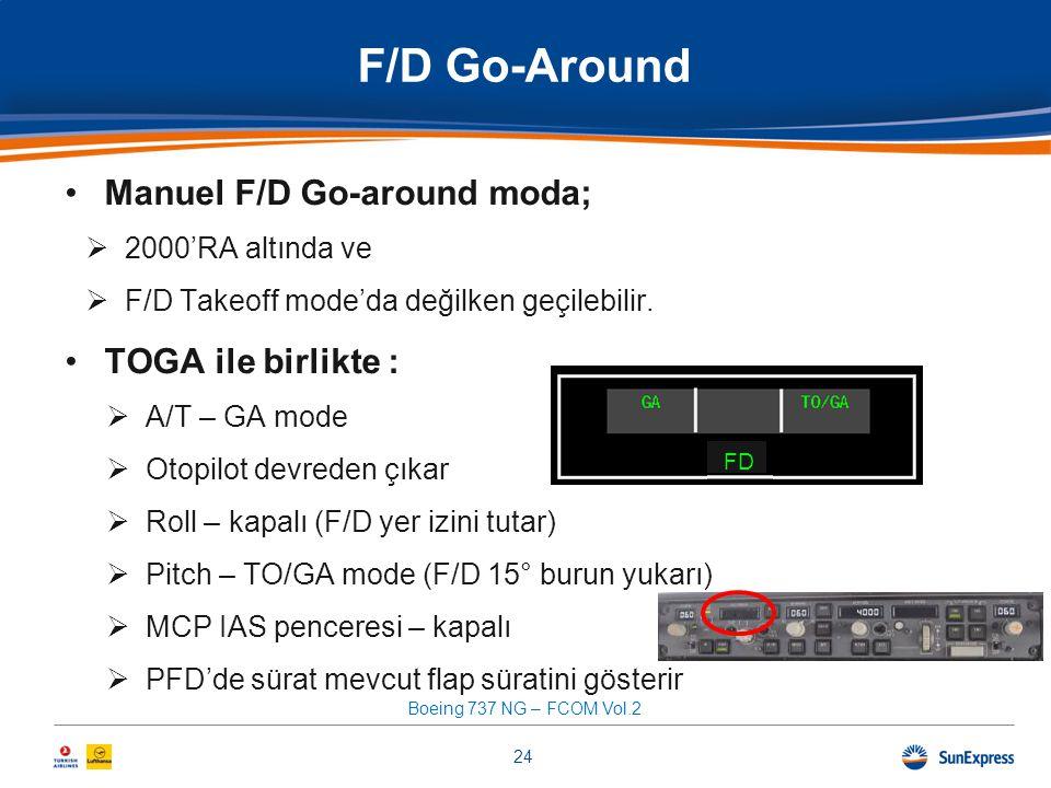 F/D Go-Around •Manuel F/D Go-around moda;  2000'RA altında ve  F/D Takeoff mode'da değilken geçilebilir. •TOGA ile birlikte :  A/T – GA mode  Otop