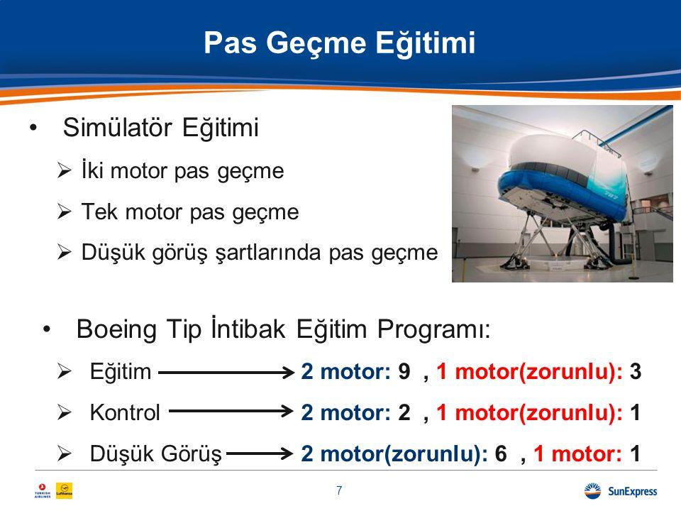 •Simülatör Eğitimi  İki motor pas geçme  Tek motor pas geçme  Düşük görüş şartlarında pas geçme •Boeing Tip İntibak Eğitim Programı:  Eğitim2 moto