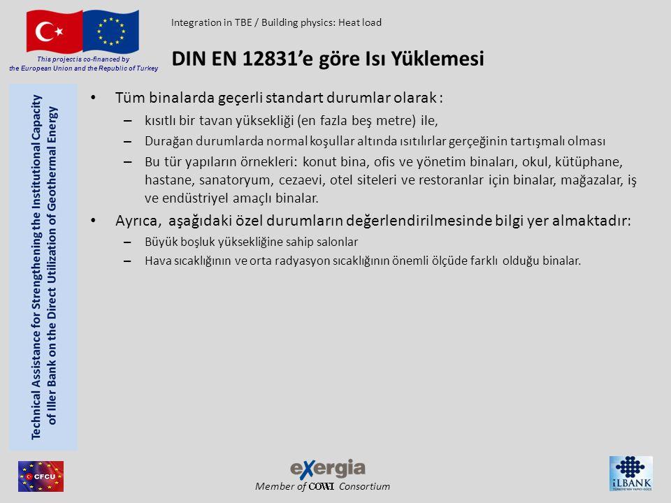 Member of Consortium This project is co-financed by the European Union and the Republic of Turkey Standart ısı kaybının hesaplanması – Standart-iletim-ısı kaybı H T • Opak yapı elemanından kaynaklanan kayıplar: – Dışa doğru – Isıtılmayan odalar yoluyla – Zemin üzerinden – Isıtılan odalar yoluyla H T = U * A * düzeltme faktörü • U – ısı transferi sabiti • A – Alan • Düzeltme faktörü – Isı geçiş faktörü f c – Dış hava kontağı e – Sıcaklık azaltan faktör b u (örnek: Isıtılmamış odalar) – Düzeltme faktörü f g1, f g2 ve G W (zemin) DIN EN 12831'e göre Isı Yüklemesi Integration in TBE / Building physics: Heat load