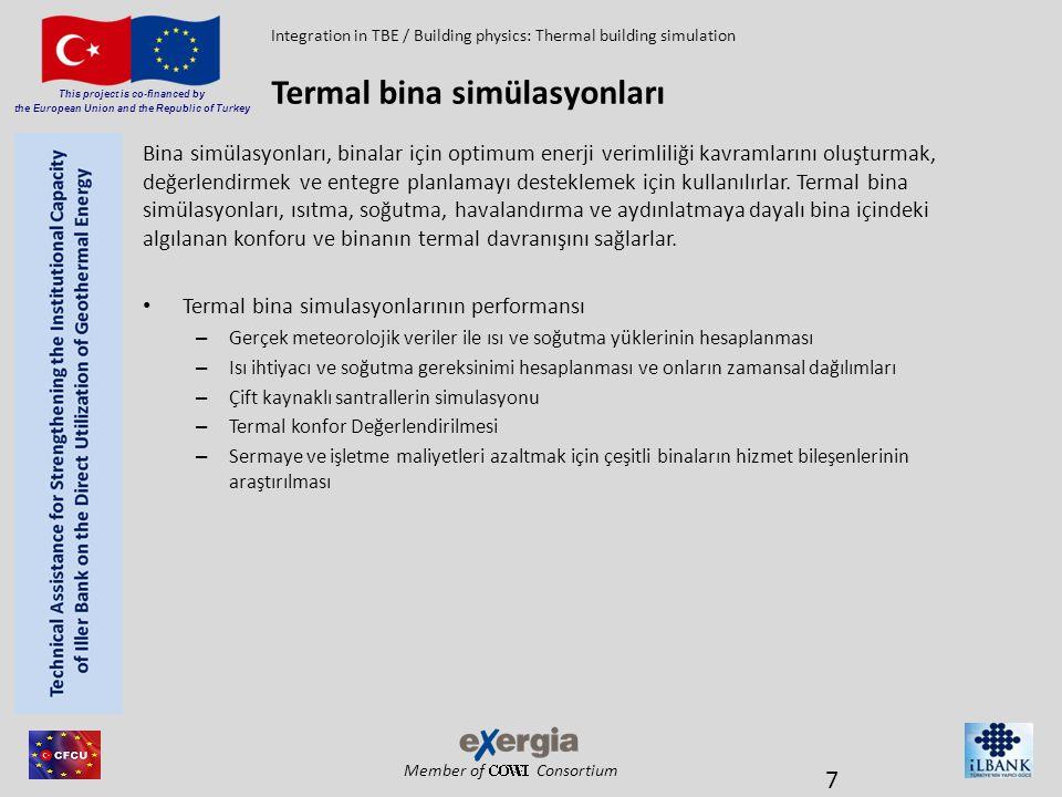 Member of Consortium This project is co-financed by the European Union and the Republic of Turkey – Termal bina simülasyonları, zaman alıcı ve nispeten yüksek fiyalıdırlar – Genel hesaplama yöntemleri ile Karşılaştırılması – Simülasyon ve tahmin arasındaki karşılaştırma Termal bina simülasyonları Integration in TBE / Building physics: Thermal building simulation 8 MetodIsı yükü Soğutma yükü Isı talebi Soğutma gereksinimi Isıtma ve soğutma talebinin dağılımı İki değerli dağılım Termal bina simülasyonu ++++++ DIN EN 12831'e göre ısı yüklemesi +----- VDI 2067'e göre soğutma yüklemesi -+---- EnEV 2009 -- Sadece uygun - - Yıllık eğri -----+