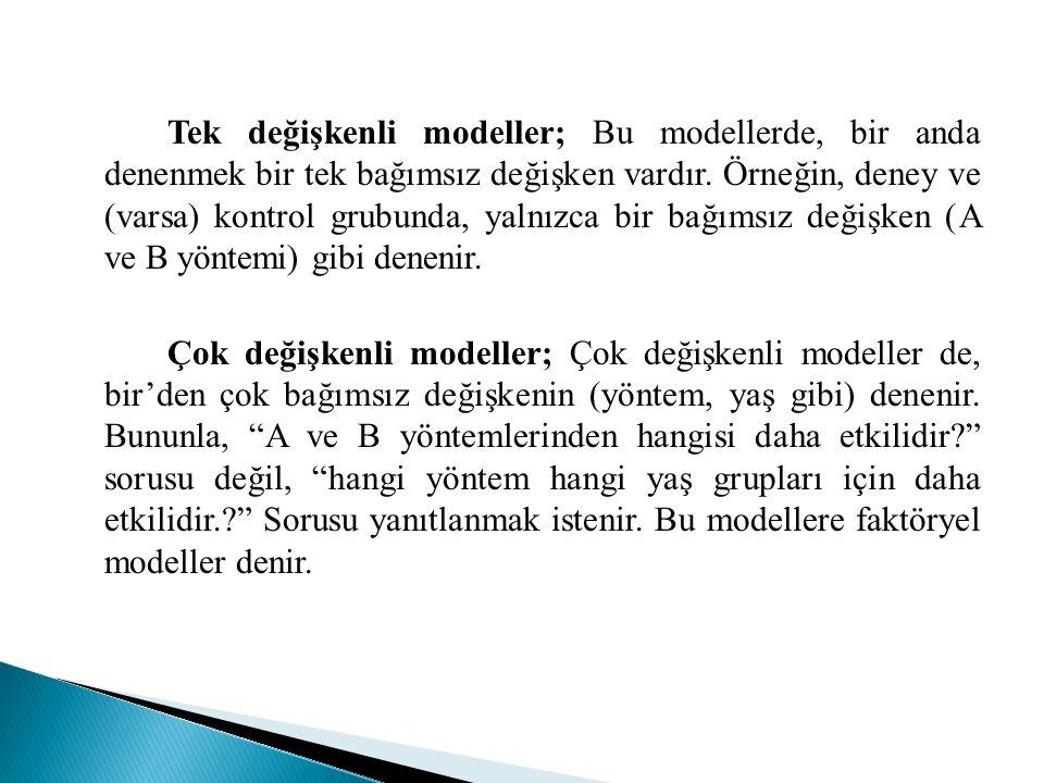 Tek değişkenli modeller; Bu modellerde, bir anda denenmek bir tek bağımsız değişken vardır. Örneğin, deney ve (varsa) kontrol grubunda, yalnızca bir b
