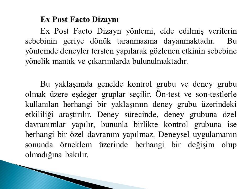 Ex Post Facto Dizaynı Ex Post Facto Dizayn yöntemi, elde edilmiş verilerin sebebinin geriye dönük taranmasına dayanmaktadır. Bu yöntemde deneyler ters