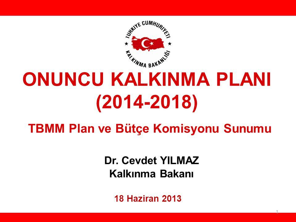 ONUNCU KALKINMA PLANI (2014-2018) TBMM Plan ve Bütçe Komisyonu Sunumu Dr. Cevdet YILMAZ Kalkınma Bakanı 18 Haziran 2013 HH 1