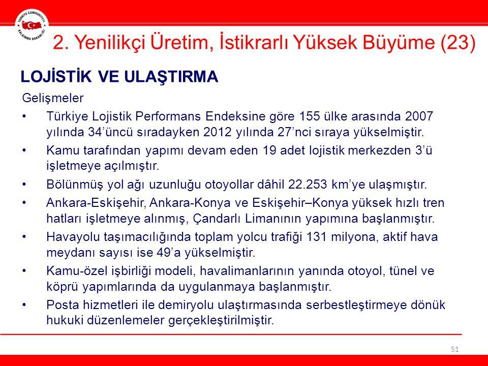 51 LOJİSTİK VE ULAŞTIRMA 2. Yenilikçi Üretim, İstikrarlı Yüksek Büyüme (23) Gelişmeler •Türkiye Lojistik Performans Endeksine göre 155 ülke arasında 2