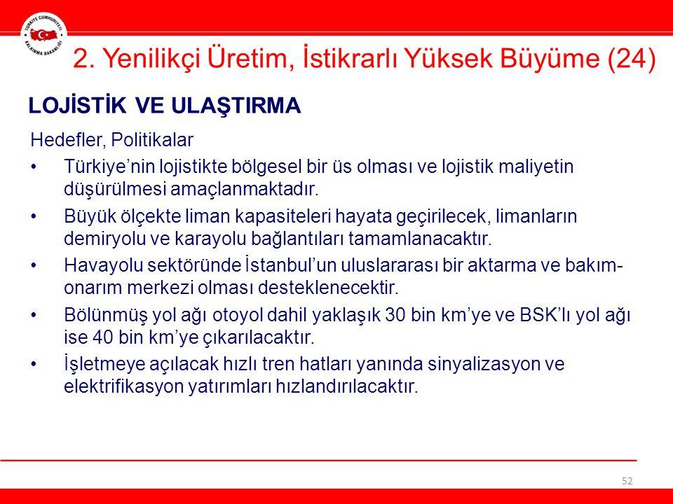 52 LOJİSTİK VE ULAŞTIRMA 2. Yenilikçi Üretim, İstikrarlı Yüksek Büyüme (24) Hedefler, Politikalar •Türkiye'nin lojistikte bölgesel bir üs olması ve lo