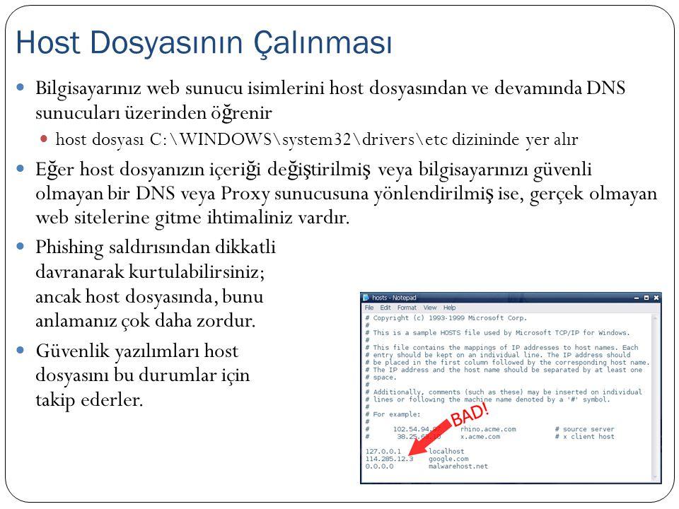  Bilgisayarınız web sunucu isimlerini host dosyasından ve devamında DNS sunucuları üzerinden ö ğ renir  host dosyası C:\WINDOWS\system32\drivers\etc